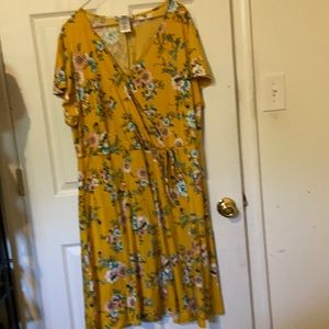 Yellow faux crossover dress